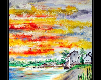 New Englands Harbor Sun Rise ( Original Art Work)