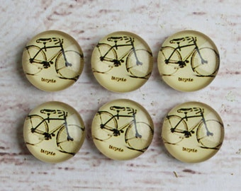 10pcs 12mm Handmade Photo Glass Cabochon Bicycle -