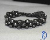 "Macrame beaded triple row ""Shamballa"" style bracelet in black with hematite beads"