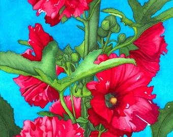 Watercolor painting...SCARLET BEAUTY...hollyhocks...giclee