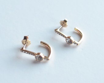 D Shaped, Cubic Zirconia, Gold Plated, Stud Earrings