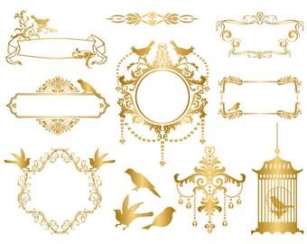 Instant Download Gold Digital Frame Clip Art Flourish Swirl Frame Clipart Gold Bird Cage ClipArt Bird Clipart Gold Wedding Invitation 0053