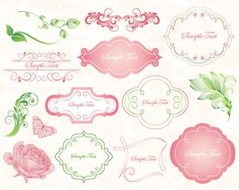 Pink/Green Digital Frame Clip Art Flourish Swirls Pink Flourish Swirl Frame Pink Flower Green Flourish Swirl Leaves Wedding Invitation 0116