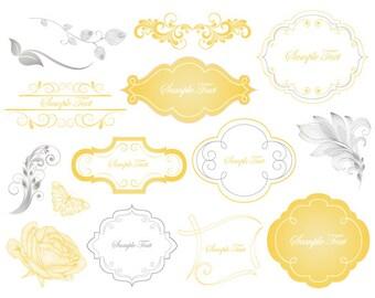 Yellow/Grey Digital Frame Clip Art Digital Yellow Flourish Swirl Frame Yellow Flower Grey Flourish Swirl Leaves Wedding Invitation 0117