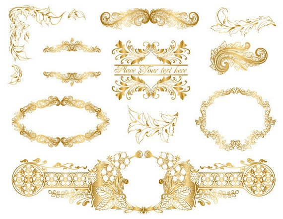 Gold frame clipartgold classical decorative frame list for Decorative synonym