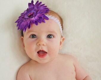 Large Daisy Headband Purple