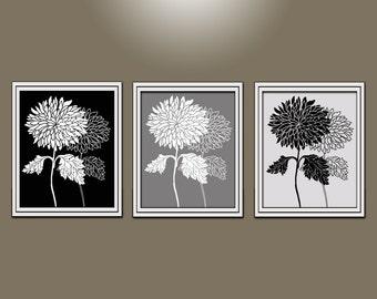 flower Wall Art, Bathroom wall art, Bedroom wall art Dahlia Home decor, custom black grey white Pictures Flower Burst 3 Prints set/ Canvas