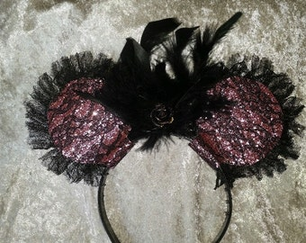 Black Lace and Pink Mouse Ear Headband -  with feathers