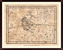 Gemini Constellation Print, Zodiac Print, Astrological Poster, on Antiqued Paper