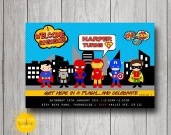 Boy Birthday Invitation Personalised Printable Superhero Any Age 1st Birthday
