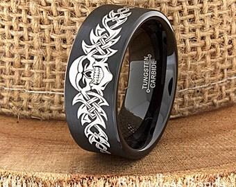 Skull Wedding Band Skull Ring Biker Wedding Band Mens Tungsten Ring Tattoo Design Customized Tungsten Band Ring Tattoo Ring Men Anniversary