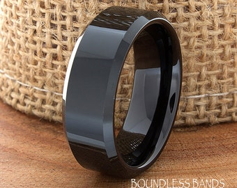 Wedding Tungsten Band Black High Polished Beveled Edges Ring Custom Laser Engraved Tungsten Anniversary Ring Couple Ring Mens Ring 8mm Band