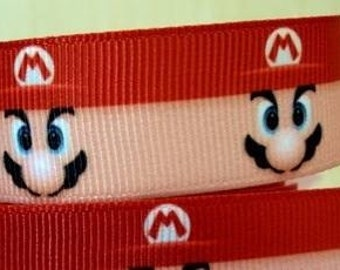 "2 Metres of 7/8"" Grossgrain Ribbon - Super Mario Bros - for Craft"