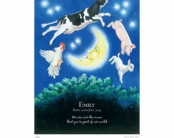 Nursery baby print, 'Over the Moon'. Limited edition personalised print for baby birth, anniversary, birthday or special gift.