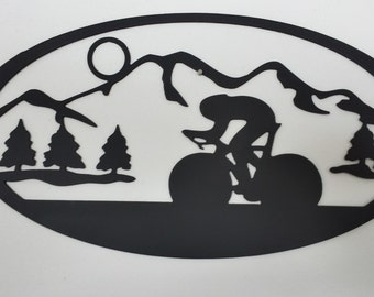 Cyclist with Mountain Scenery Metal Wall Art