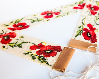 Red  poppies. Belt. Ukrainian traditions.