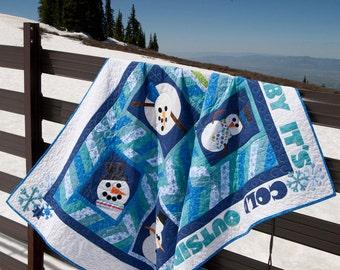 Baby it's Cold - Appliqued Snowman Quilt Pattern