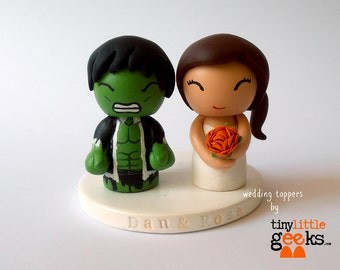 Wedding Cake Topper - Custom Cake Topper - Hulk and Bride Superhero Cake Topper