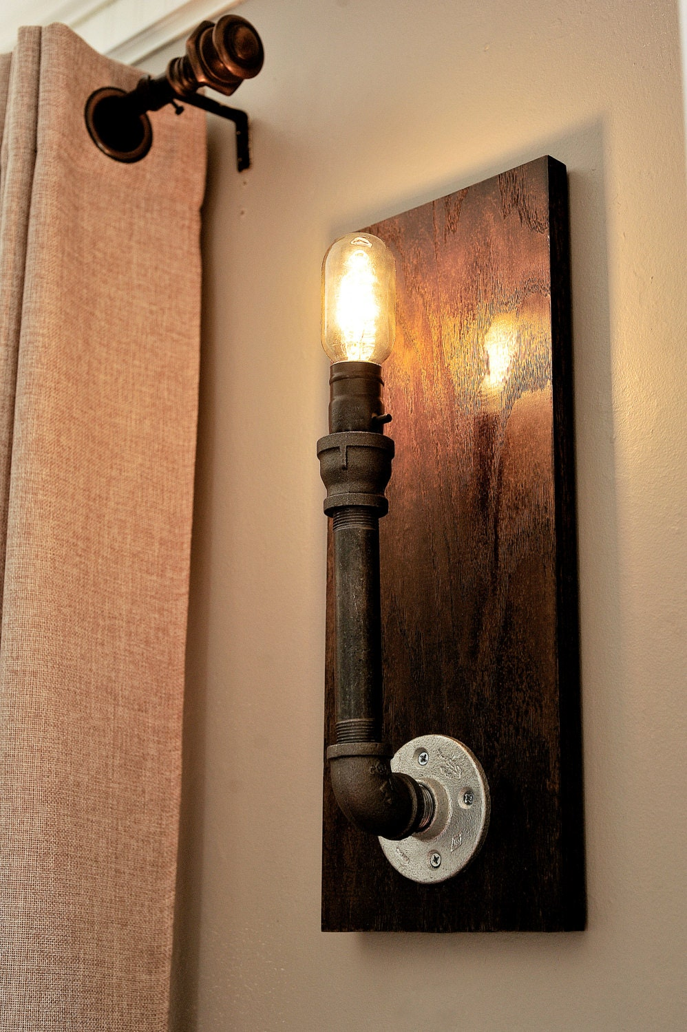 Galvanized Pipe Wall Sconce Set by honeyandcombs on Etsy
