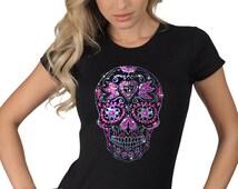Women's Metallic Colorful Purple Pink Studded Sugar Skull Dia De Los Muertos Skeleton Graphic Art Design T-Shirt