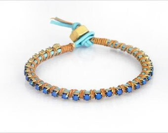 Riviera bracelet - Blue and butterscotch