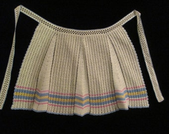Vintage Crocheted 1940's Half Apron Pink Blue and Yellow
