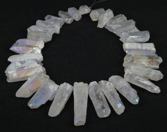 Large Size Mystic Titanium White Quartz Crystal Points Pendants Beads,Top Drilled Rough Clear Quartz Stick Gemstone pendants Craft Supplies