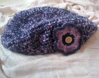 Oversized Beret with Flower Applique