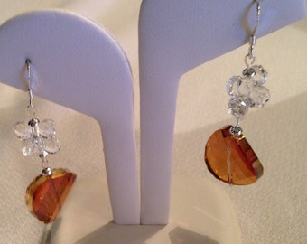Amber drop earrings with Swarovski crystals