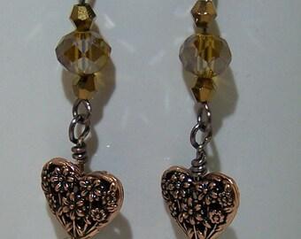 Antique brass heart earrings
