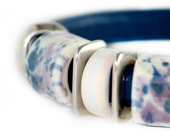 Leather bracelet, Leather womens bracelet, Leather jewelry, Blue leather bracelet, bangle with ceramic and metal beads