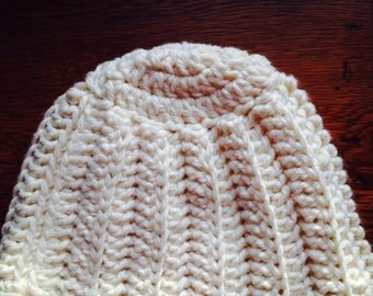 White crocheted hat