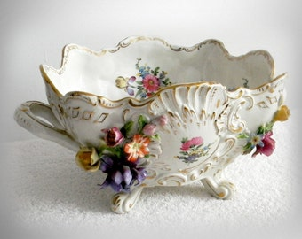 Dresden Gremany large porcelain bowl with flowers - marked