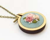 Embroidered Floral Mini Hoop Necklace, Handstitched, Floral Necklace,