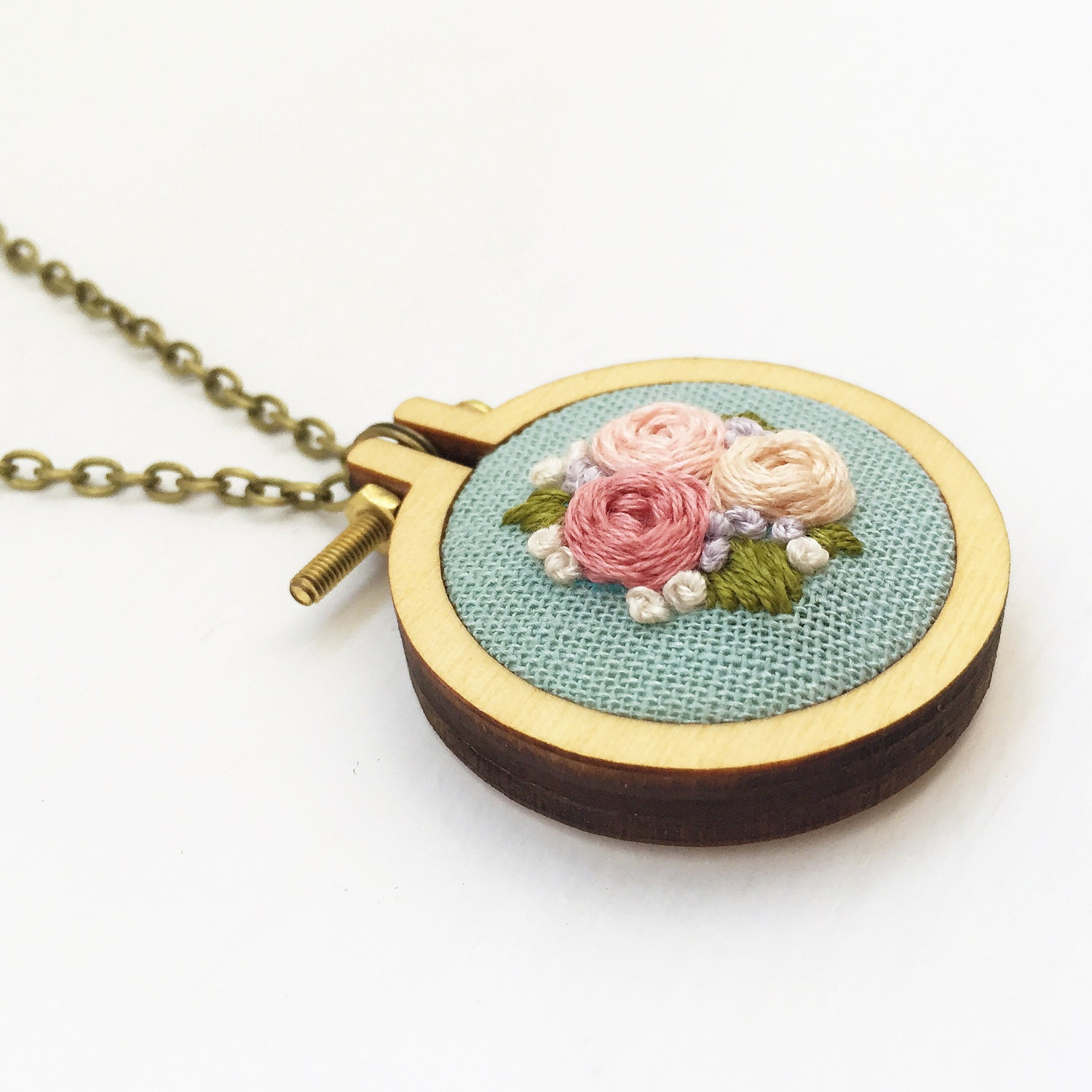 Embroidered floral mini hoop necklace handstitched