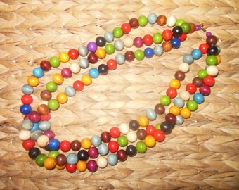 Multi strand beaded wood necklace