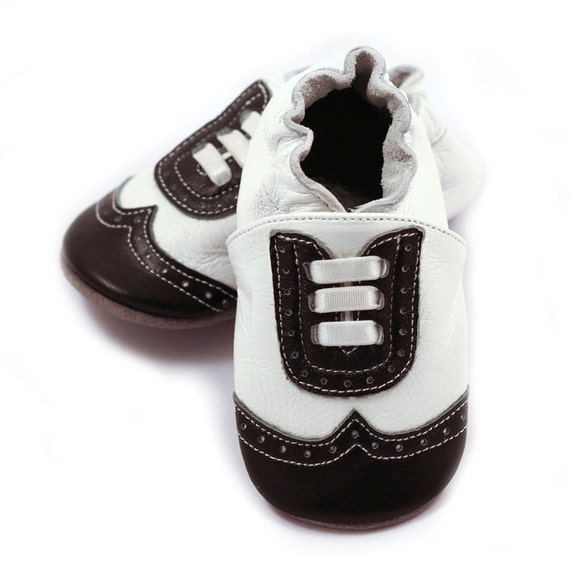 wingtip leather baby shoes white and black for baby boys