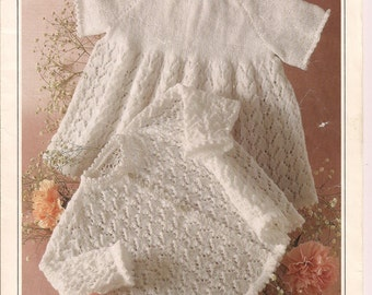 Baby girls knitting pattern lacy great gift
