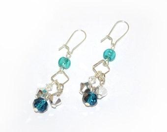 Aqua Earrings, blue earrings, teal earrings, dangle, sparkle, fashion earrings, fashion accessory