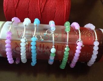 Semanario, Sterling silver and swarovski bracelets, handmade, 7 bracelets, real silver, swarovski stones
