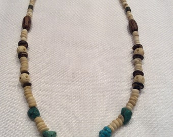 Bone and turquoise necklace