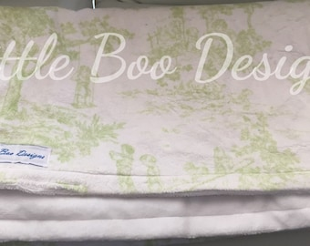 Super Soft Minky Neutral Baby Blanket Vintage Green Print. Smooth White on Reverse