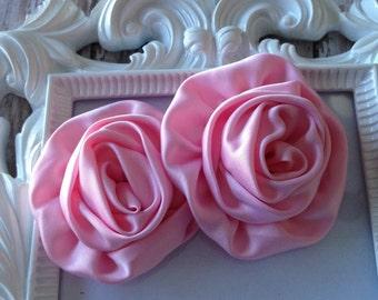 Pink Rolled Satin Rosette, Rosettes, Satin Rosettes, DIY headband, Boutique Supplies, Wholesale Rosette