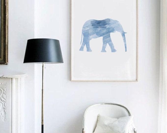 Blue Elephant Poster / Blue Watercolor Elephant Poster / Elephant Wall Art / Ethnic Poster / Ethnic Wall Art / Minimalist Poster