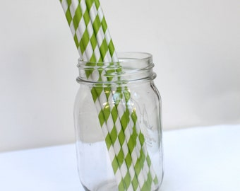 Striped Paper Straws Kiwi Green Pack of 25 Party Supplies
