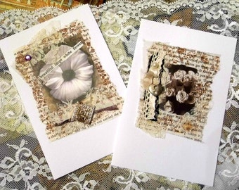 Sepia White Flowers - Open Greetings Cards