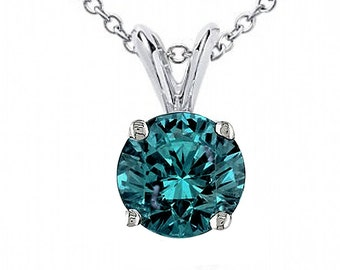 0.65ct Round Blue Diamond 14k White Gold Solitaire Pendant Necklace