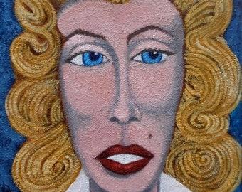 vintage portrait blond girl. Free shipping