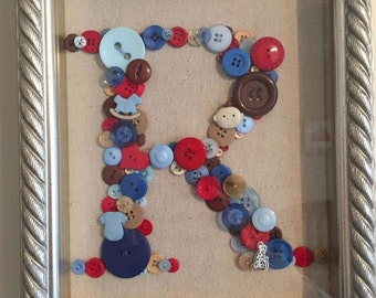 Custom Button Initials (Shadow Box  Frame).  Made to order.
