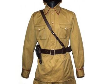 Soviet Red Army RKKA WW2  Russian military Infantry USSR khaki Officer cotton uniform M35 Gimnasterka & Galife